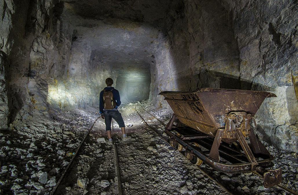 Miner at old wooden
