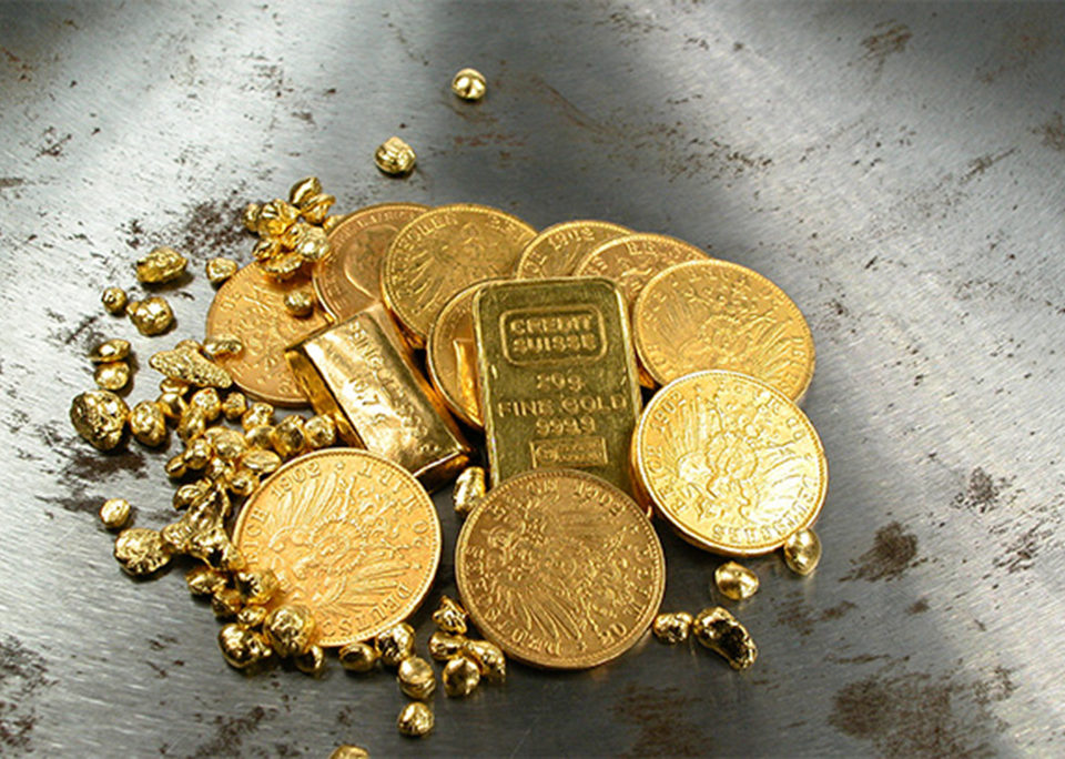 Gold bullion and coin